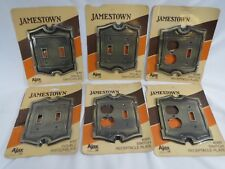 Vintage Ajax Jamestown Brass Double Switch Cover Plate & Outlet Combo #4061 4066
