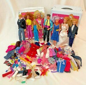 LOT Vintage 1950s, 1960s, 1980s Barbie, Ken, 8 Dolls, 2 Cases, Dozens of Pieces
