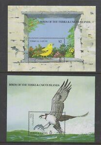 Turks & Caicos - 1990, Birds sheets x 2 - M/m - SG MS1018