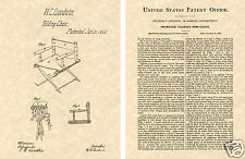 1862 Director Chair US Patent Art Print READY TO FRAME!! Vintage Movie TV set