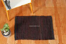 24X 16 Mat Rectangle Door Mat Brown & Black Hand Woven Rugs Cotton Floor Carpets