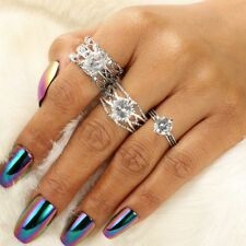 Pcs/Set Charm Leaf Inlaid Heart Retro Ancient Silver Rings Set Crystal Jewelry