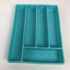 VTG Plastic Silverware Flatware Divider Kitchen Drawer Tray Organizer 60s Teal