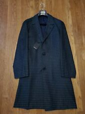 $8k KITON Men's TOPCOAT OVERCOAT-40US/50 Cashmere+Silk Jacket/Navy+Green Gingham