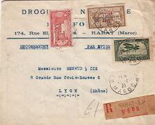 Lettre Recommandé Rabat (Maroc) Aérienne + Surcharge 1925 French Colonies Cover