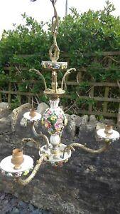 Vintage 3 Arm Chandelier with Porcelain Flowers Ceiling Light
