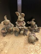 Adorable Lot Of 4 Sarah's Attic Edition Bunny Rabbit Figurines Must See