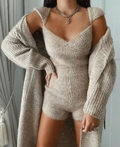 Zara Beige Knit Limited Edition Top And Shorts Only Co Ord Matching Set Size S