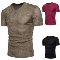 Men's T-shirt Short Sleeve V Neck Ribbed Slim Fit Stylish Tops Tee Casual Blouse
