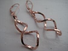 Gold drop earrings 9 carat rose swirled at 50mm