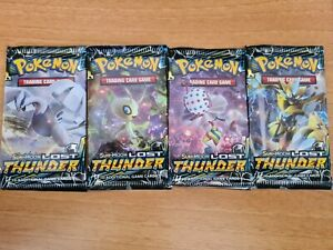 Pokemon Sun And Moon Lost Thunder Booster Pack Art Set - 4x Booster - New -...