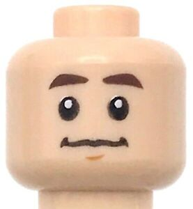 Lego New Light Flesh Minifigure Head Dual Sided Confused Puzzled Look Piece