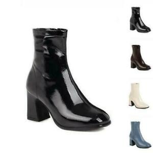 Women Chelsea Block High Heel Square Toe Ankle Boots Casual Zip Up Classic Shoes