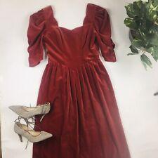 VINTAGE 1980s Laura Ashley Wine velvet Puff sleeve pleated Regency Sz 12 Dress