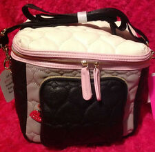 Betsey Johnson Cargo Lunch Box Tote Insulated Bag Pink  Black Bone  NEW NWT