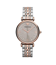 New Emporio Armani Classic Rose Gold Silver Stainless Steel Women's Watch AR1840