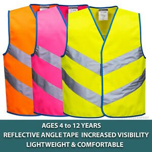 Kids Hi Vis Vest Childrens Reflective Safety High Viz Waistcoat Ages 4 - 12 Year