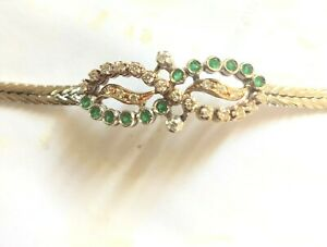BEAUTIFUL BRACELET IN WHITE AND YELLOW GOLD 18 KT. .18 CM., 12 EMERALDS, 22 BRIL