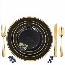 120 Full Table Settings Elegant Disposable Black/Gold Rimmed Plates-Cutlery