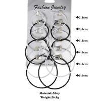 6 Pairs/Set Fashion Women Big Round Hoop Earrings Circle Charm Simple Jewelry TR