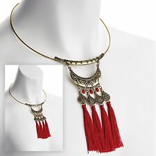 Red Tassel Tribal Look Collar Necklace Burnished Gold Colour