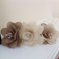Hessian / Burlap Flowers Ivory & Natural Stemmed Bouquets Weddings x 7