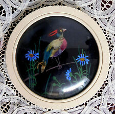 "Vintage Feather Art Round Framed PHEASANT Bird ~ 5 1/2""    Convex Glass"