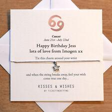 Personalised Handmade CANCER BIRTHDAY Wish Bracelet - Zodiac Sign, Horoscope