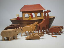 Vintage Wooden Folk Art Noah's Ark w/ Animals Hand-Made USA Around Hand Carved