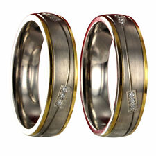 2 Titanringe Bicolor Silber / Gold Trauringe Verlobungsringe X42190
