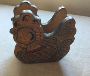 Vintage Wooden Farmhouse Chicken Rooster Napkin Holder 2 Sided
