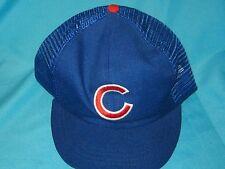 VINTAGE RARE MLB CHICAGO CUBS BLUE TRUCKER MESH SNAPBACK CAP HAT - ANNCO