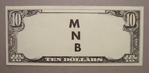 Undated $10 Federal Reserve MNB Test Note Choice Uncirculated