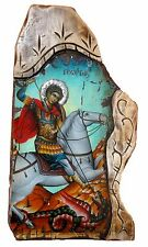 Handmade Wooden Greek Orthodox Aged Icon Painting Canvas of Saint George M65