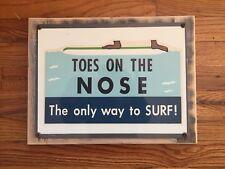 Toes On The Nose Vintage 60's Hang Ten Surf Surfer Surfboard Framed Metal Sign
