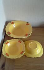 Retro Yellow fruit bowl, 4 dishes, with oranges decorative, dessert, unbranded