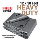 Premium Heavy Duty Canopy Tarp Poly Tarpaulin Reinforced Tent Car Boat 12 x 30