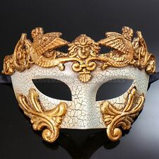 Men's Masquerade Ball Party Mask Venetian Greek Emperor Mask Costume Gold White