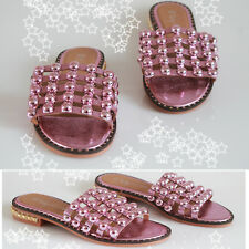 Ladies Womens Flat Cage Diamonte Stud Studded Slip On Slider Summer Sandals Shoe