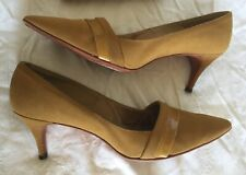 Vintage 1960s Mustard Gold Suede Leather Pump Heels Shoe Pinup Retro 9 Aa w/ Box