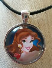 """BELLE"" Disney's Beauty and The Beast. Glass Pendant with Leather Necklace"