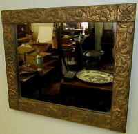 19TH C FEDERAL PERIOD GOLD GILT GESSO RELIEF ANTIQUE MIRROR