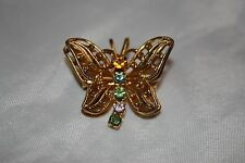 With Birthstone Style Rhinestones Beautiful Gold Tone Butterfly