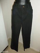 RALPH LAUREN JEANS STRETCH EMBROIDERED FLORAL BLACK COTTON TROUSERS PANTS SZ 12