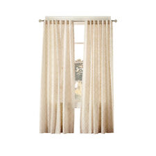 "Simply Classic Terrace Linen Beige Geometric Back Tab Curtain Panel 84""x 54"""