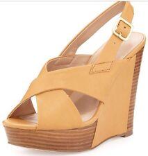 Charles David Womens Platform Beige Wooden Wedge Strap Sandal 8.5 $135 *SALE!