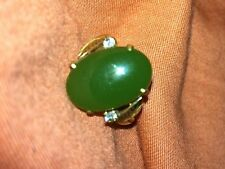 Jade Jadeite Gold Ring 18K and Diamonds stamped/signed LJ