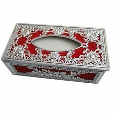 Royal Red Silver Paper Tissue Box Holder Office Car Home Decor NEW