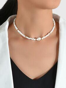Adjustable Handmade Elegant Boho Simple Seed Beads White Shell Necklace Choker