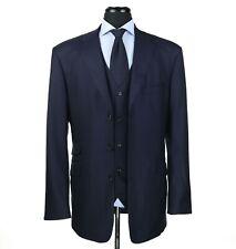 Tom James Royal Classic Bespoke 3 Piece Wool Suit Navy Blue Size 42L